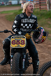 Tyler Berman in the Spirit of Sturgis antique motorcycle flat track race at the historic Sturgis Half Mile during the 78th annual Sturgis Motorcycle Rally. Sturgis, SD. USA. Monday August 6, 2018. Photography ©2018 Michael Lichter.