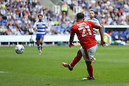 Nahki Wells of Huddersfield Town taking a shot at goal. EFL Skybet  championship match, Reading  v Huddersfield Town at The Madejski Stadium in Reading, Berkshire on Saturday 24th September 2016.<br /> pic by John Patrick Fletcher, Andrew Orchard sports photography.