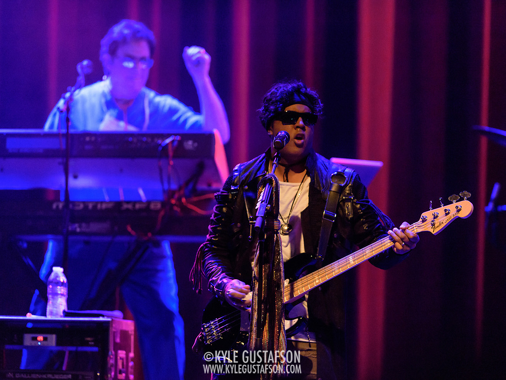 """SILVER SPRING, MD - April 27th, 2017 - Matthew """"Dr. Fink"""" Fink and  Mark """"Brownmark"""" Brown of The Revolution perform at the Fillmore Silver Ring in Silver Spring, MD. The Revolution played on most of Prince's biggest hits and have returned to the road in the wake of his 2016 death. (Photo by Kyle Gustafson / For The Washington Post)"""