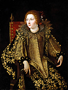 Artemisia Gentileschi (8 July 1593–ca. 1656) was an Italian Early Baroque painter.  Portrait of a Lady, Three-Quarter Length Seated, Dressed in a Gold Embroidered Elaborate Costume