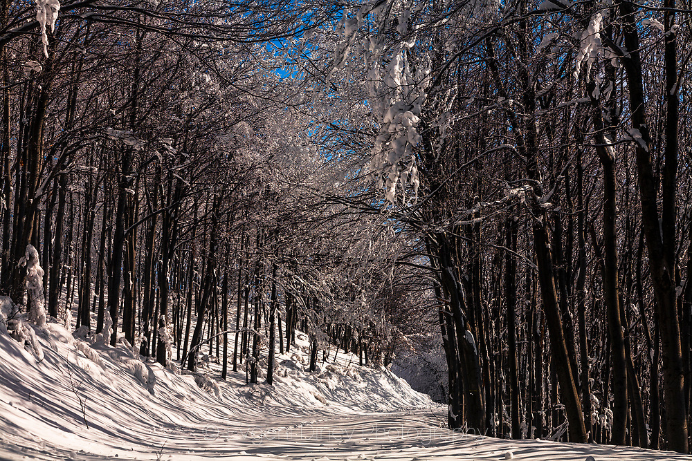 Snowy road in the mountain at winter