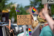 """A demonstrator holds a sign reading """"one love"""" during the Mifflinburg Pride Event."""