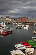 Colorful boats and the famous Motif #1 at Rockport Harbor