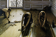 Les raboteurs' (The Floor Scrapers) 1875.  Oil on canvas. Impressionism Realist School Labourer Interior