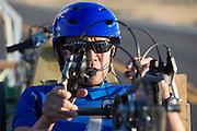 Larry Lem zit in de Glow Worm voor de start. In de buurt van Battle Mountain, Nevada, strijden van 10 tot en met 15 september 2012 verschillende teams om het wereldrecord fietsen tijdens de World Human Powered Speed Challenge. Het huidige record is 133 km/h.<br /> <br /> Larry Lem in the Glow Worm for the start. Near Battle Mountain, Nevada, several teams are trying to set a new world record cycling at the World Human Powered Speed Challenge from Sept. 10th till Sept. 15th. The current record is 133 km/h.