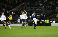 Photo: Andrew Unwin.<br />Scotland v USA. International Challenge. 12/11/2005.<br />The referee, Alberto Undiano Mallenco, has ruled the goal, hit by Scotland's Scott Brown (R), offside before the ball has struck the back of the net.