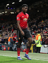 Manchester United's Paul Pogba after being sent off during the UEFA Champions League round of 16, first leg match at Old Trafford, Manchester.