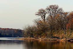 10 November 2007: Scenic shot of Lake Evergreen and the southern shore of Deer Island in Comlara Park, McLean County, Illinois