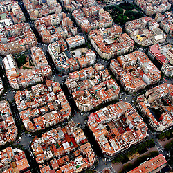Aerial view of downtown Barcelona housing.