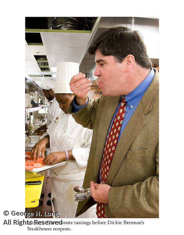 4/27/06:  Last minute tastings before Dickie Brennan's Steakhouse reopens.