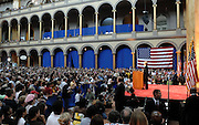 DISTRICT OF COLUMBIA - June 7, 2008:  U.S. Senator Hillary Clinton announces the end of her presidential bid for the White House and her endorsement support of presumptive democratic nominee for president, Sen. Barack Obama on Saturday at the National Building Museum in Washington, DC.