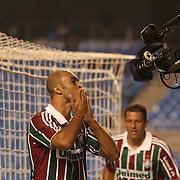 Leandro celebrates the first goal for Fluminense with a header during the  Fluminense VAtlético MG, Futebol Brasileirao  League match at Estadio Olímpico Joao Havelange, Rio de Janeiro, Fluminense won the match 5-1. Rio de Janeiro,  Brazil. 23rd September 2010. Photo Tim Clayton.