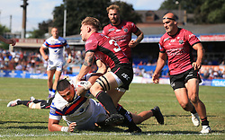 Wakefield Trinity Wildcats Pauli Pauli scores 2nd half try against Hull FC during the Betfred Super League match at Belle Vue Stadium, Wakefield.