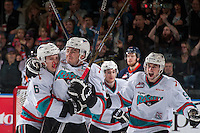 KELOWNA, CANADA - APRIL 1:  Jonathan Smart #6 celebrates an assist with Rodney Southam #17 of Kelowna Rockets after he scored his third goal and a second period hat trick against the Kamloops Blazers on April 1, 2016 at Prospera Place in Kelowna, British Columbia, Canada.  (Photo by Marissa Baecker/Shoot the Breeze)  *** Local Caption *** Rodney Southam; Jonathan Smart;
