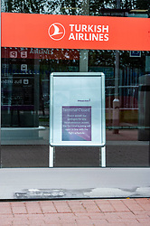 Pictured: <br /> Normally near the end of the school holidays Edinburgh Airport would be buzzing with travelers returning or heading off for a late break.  Not this year as the restrictions imposed due to Covid 19 persuading travelers to change their plans.  The airport does have a testing station on site (three minutes from the terminal) but it did not seem to be busy today.<br /> <br /> Ger Harley | EEm 29 July 2020