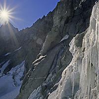 MOUNTAINS. Icicles above bergschrund crevasse, Palisade Glacier, John Muir Wilderness, Sierra Nevada, CA.
