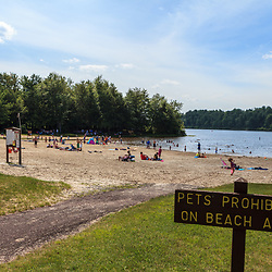 Benton, PA, USA - June 15, 2013: No Pets on Beach sign in Pennsylvania's Ricketts Glen State Park.