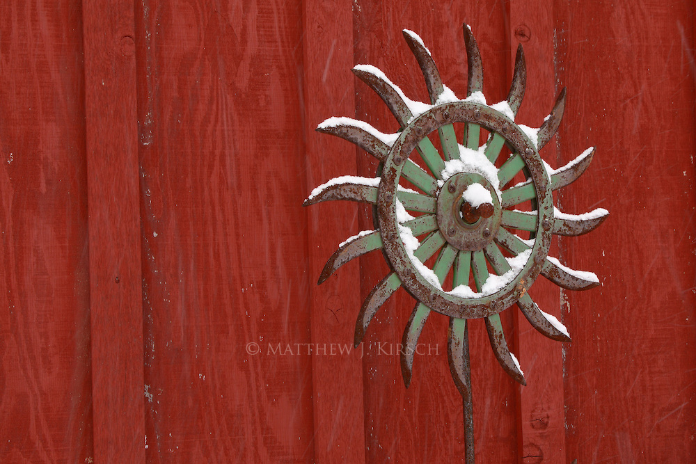 Iron Art Decoration on Wisconsin Farm in Winter