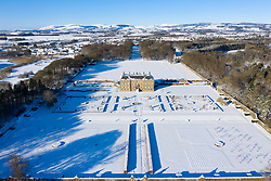 Kinross, Scotland, UK. 11 Feb 2021. Aerial view of a snow covered  Kinross House and gardens in Kinross, Kinross-shire.  Iain Masterton/Alamy Live news