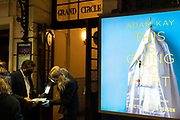 As Prime Minister Boris Johnson announces a second Coronavirus nationwide lockdown during the second wave of the pandemic, staff check customer tickets outside the Apollo Theatre on Shaftesbury Avenue where Adam Kay's medical comedy 'This Is Going To Hurt' is playing, on 31st October 2020, in London, England. But business such as theatres will again have to close from Thursday, and for a period of at least one month.