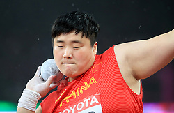 China's Lijiao Gong in action in the Women's Shot Put during day six of the 2017 IAAF World Championships at the London Stadium. PRESS ASSOCIATION Photo. Picture date: Wednesday August 9, 2017. See PA story ATHLETICS World. Photo credit should read: Adam Davy/PA Wire. RESTRICTIONS: Editorial use only. No transmission of sound or moving images and no video simulation