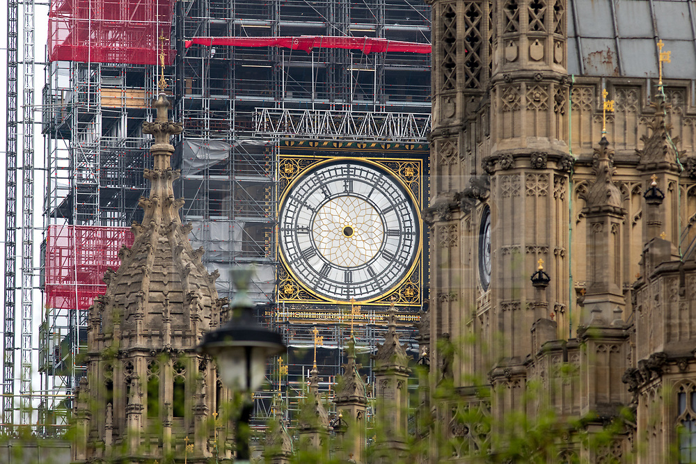 """© Licensed to London News Pictures. 15/04/2018. London, UK. A clock face on the Elizabeth Tower, (commonly known as """"Big Ben""""), is seen without hour and minute hands. The Houses of Parliament is currently undergoing a large scale renovation. Photo credit : Tom Nicholson/LNP"""