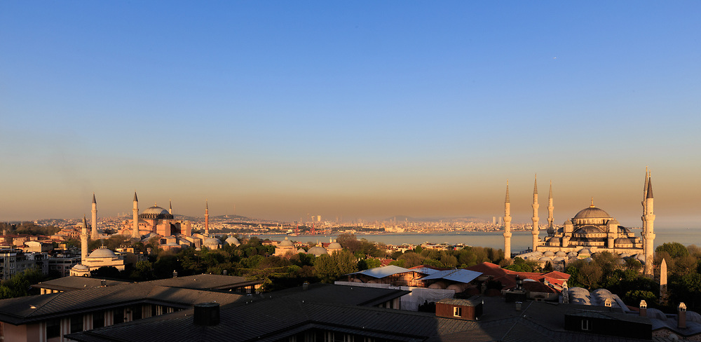 Hagia Sophia Museum and Blue Mosque in Aultanahmet in Istanbul, Turkey. Sultanahmet area includes the most significant historical sites in Istanbul.