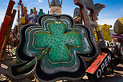 "Four leafed clover in the Neon Museum Boneyard, Las Vegas. The Boneyard features more than 150 signs. For many years, the Young Electric Sign Company stored many of these old signs in their ""boneyard."" The signs were slowly being destroyed by exposure to the elements."