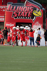 02 September 2017:   Led by Davontae Harris and Jake Kolbe, the team emerges from the tunnel to the field during the Butler Bulldogs at  Illinois State Redbirds Football game at Hancock Stadium in Normal IL (Photo by Alan Look)