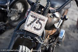 Chuckie Goerlitz's (#75) 1938 Harley-Davidson UL at the Race of Gentlemen. Wildwood, NJ, USA. October 10, 2015.  Photography ©2015 Michael Lichter.
