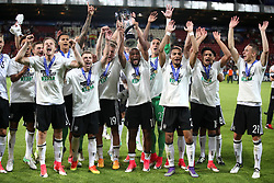 Germany's Serge Gnabry (centre) and teammates celebrate with the UEFA European Under-21 Championship Trophy