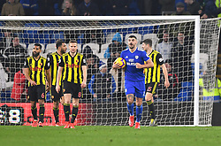 Cardiff City's Sol Bamba (not pictured) scores his side's first goal of the game during the Premier League match at the Cardiff City Stadium.