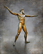 Early classical ancient Greek bronze statue of Zeus or Poseidon, circa 450 BC. Athens National Arcjaeological Museum, cat no X15161. Wall art print by Photographer Paul E Williams . This bronze statue was found in the sea off Cape Artemision in northern Euobea. Zeus or Poseidon is shown making a great stride. His lefy arm is extended forward and his righy arm extends back which would have held a thunderbolt, if Zeus, or a trident if Poseidon. The identification of the statue is controversial though it ios more likely Zeus.  It is one of the few preserved original statues of Severe Style, notable for the exuisite rendering of motion and anatomy. Iy is certainly the work of a great sculptor of the early ancient Greek Classical period .<br /> <br /> If you prefer visit our World Gallery Print Shop To buy a selection of our prints and framed prints desptached  with a 30-day money-back guarantee and is dispatched from 16 high quality photo art printers based around the world. ( not all photos in this archive are available in this shop) https://funkystock.photoshelter.com/p/world-print-gallery