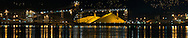Night panorama of the North Vancouver Sulphur Works from Stanley Park, Vancouver, British Columbia.