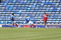 Football - 2020 / 2021 Sky Bet League One - Portsmouth vs. Accrington Stanley - Fratton Park<br /> <br /> Adam Phillips of Accrington smashes in the opening goal at Fratton Park <br /> <br /> COLORSPORT/SHAUN BOGGUST