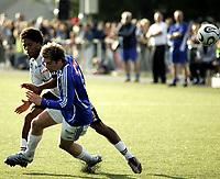Fotball<br /> NM andre runde 2006<br /> 08.06.2006<br /> Korsvoll v Odd Grenland<br /> Foto: Eirik Førde, Digitalsport<br /> <br /> Korsvolls Sven Pickard og Odds Olof Hvidèn-Watson går feil vei etter en duell