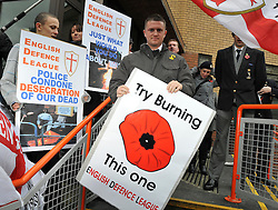 © under license to London News Pictures. 22/11/2010. Stephen Lennon leaves court today (Mon). English Defence League founder Stephen Lennon appears in court today (Monday) in West London accused of assaulting a police officer on the anniversary of Armistice Day. Lennon was arrested during a counter protest against a hardline Islamic group. Photo credit should read: Stephen Simpson/LNP