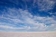 Blue skies above the Greenland ice cap during a British mountaineering expedition to Knud Rasmussens Land, East Greenland, Arctic, 2006.