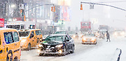 Snow Storm in Times Square in New York, NY on January 4, 2018