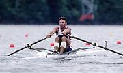 Atlanta, USA. GBR  M1X. Peter HAINING. at the start, 1996 Olympic Rowing Regatta Lake Lanier, Georgia, USA.  [Mandatory Credit Peter Spurrier/ Intersport Images]