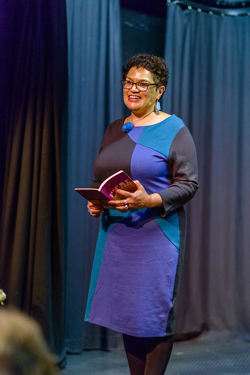 Jackie Kay, the Scottish Makar, performing at Bowhill Theatre, as part of the 2017 YES (Selkirk, Ettrick & Yarrow) Festival.  The Festival,  took place over the 12th to 17th September. The bi-annual arts event took place at venues in the Valleys and Selkirk, including The Haining, The County Hotel, Selkirk town square and Bowhill House.  The event included dance, the visual arts, moving image, outdoor theatre, live music and poetry.