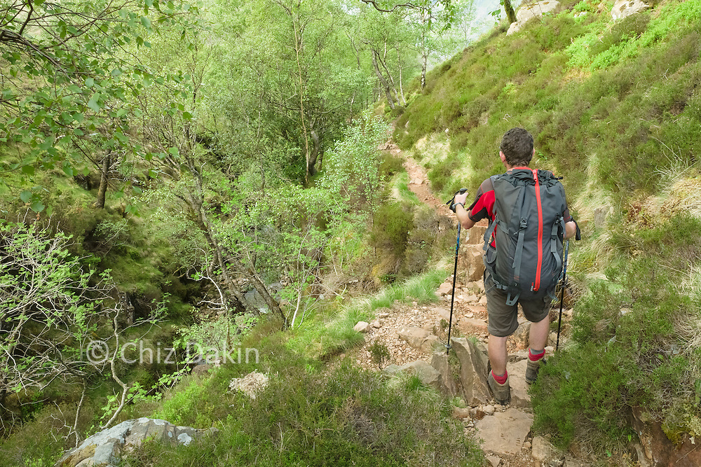 On the rocky descent path in the steep ravine of Scales Beck