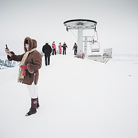 Karakol resort, Kyrgyzstan. Many tourists ride the lift here just for the experience of being higher up the mountain, not for skiing.