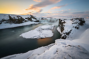 Godafoss in January. It is located in northeast-Iceland.
