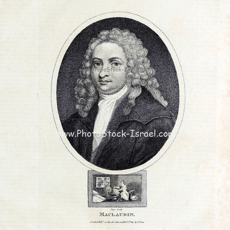 Colin Maclaurin (February 1698 – 14 June 1746) was a Scottish mathematician who made important contributions to geometry and algebra. He is also known for being a child prodigy and holding the record for being the youngest professor. Copperplate engraving From the Encyclopaedia Londinensis or, Universal dictionary of arts, sciences, and literature; Volume XIV;  Edited by Wilkes, John. Published in London in 1816