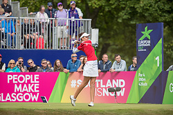 Great Britain's Meghan McLaren tees off at the 1st during day ten of the 2018 European Championships at Gleneagles PGA Centenary Course.