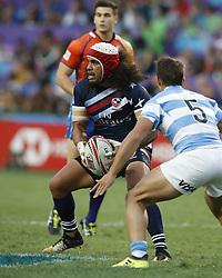 April 8, 2018 - Hong Kong, HONG KONG - Folau  Niua (7) of the United States shown against Argentina during the 2018 Hong Kong Rugby Sevens at Hong Kong Stadium in Hong Kong. (Credit Image: © David McIntyre via ZUMA Wire)