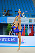 Minagawa Kaho of Japan competes during Individual qualification of hoop in the World Cup at Adriatic Arena on April 10, 2015 in Pesaro, Italy. Kaho was born on August 20,1997 in Chiba Prefecture, Japan.