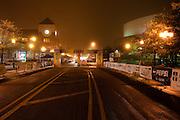 Night image of the work crews preparing the Quad Cities Marathon 2010