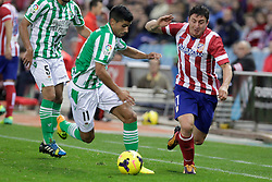 27.10.2013, Estadio Vicente Calderon, Madrid, ESP, Primera Division, Atletico Madrid vs Real Betis, 10. Runde, im Bild Atletico de Madrid's Gabi (R) and Real Betis Juanfran (L) // Atletico de Madrid's Gabi (R) and Real Betis Juanfran (L) during the Spanish Primera Division 10th round match between Club Atletico de Madrid and Real Betis at the Estadio Vicente Calderon in Madrid, Spain on 2013/10/28. EXPA Pictures © 2013, PhotoCredit: EXPA/ Alterphotos/ Victor Blanco<br /> <br /> *****ATTENTION - OUT of ESP, SUI*****